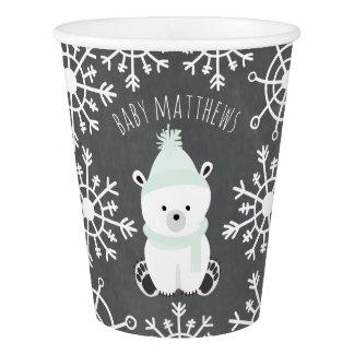 Polar Bear Winter Green Baby Shower Paper Cup