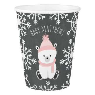 Polar Bear Winter Pink Baby Shower Paper Cup