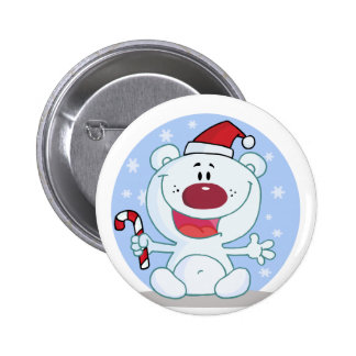 Polar Bear With Candy Cane Holiday Tshirts Pinback Buttons