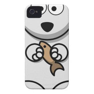 Polar Bear With Fish Cartoon iPhone 4 Case-Mate Case