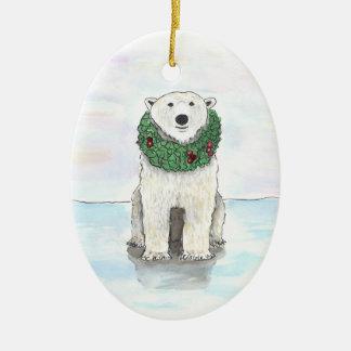 Polar Bear with Holiday Wreath Ornament