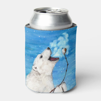 Polar Bear with Toasted Marshmallow Can Cooler