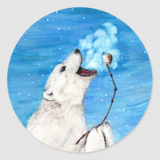 Polar Bear with Toasted Marshmallow Classic Round Sticker