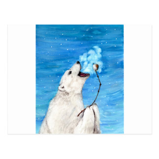 Polar Bear with Toasted Marshmallow Postcard
