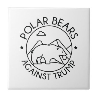 Polar Bears Against Trump Ceramic Tile