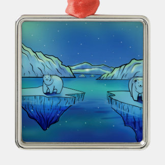 Polar Bears and Northern Lights Silver-Colored Square Decoration