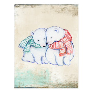 Polar Bears Couple Postcard