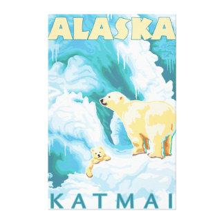 Polar Bears & Cub - Katmai, Alaska Stretched Canvas Prints