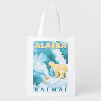 Polar Bears & Cub - Katmai, Alaska Reusable Grocery Bag
