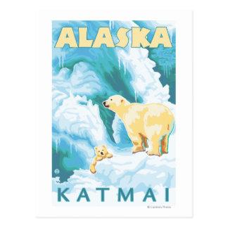 Polar Bears & Cub - Latouche, Alaska Postcard