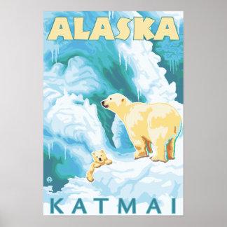 Polar Bears & Cub - Latouche, Alaska Poster