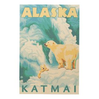 Polar Bears & Cub - Latouche, Alaska Wood Canvases