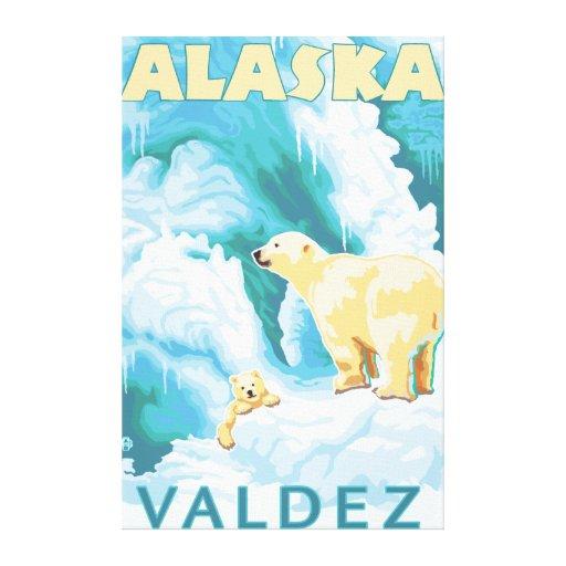 Polar Bears & Cub - Valdez, Alaska Gallery Wrapped Canvas
