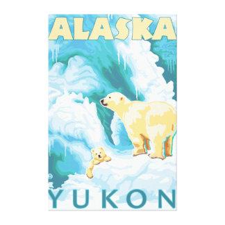 Polar Bears & Cub - Yukon, Alaska Gallery Wrapped Canvas