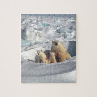 Polar Bears Cubs Arctic Wildlife Jigsaw Puzzle