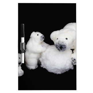Polar bears family figurines playing with snowball Dry-Erase whiteboards