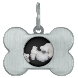 Polar bears family figurines playing with snowball pet tag