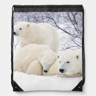 Polar Bears female and Two cubs 3 Drawstring Bag