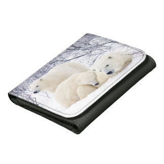 Polar Bears female and Two cubs 3 Wallet