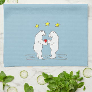 Polar Bears giving Heart and Yellow Stars Kitchen Towels