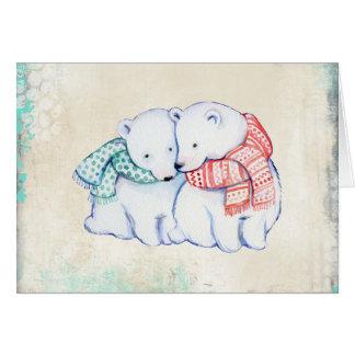 Polar Bears in Scarves Christmas Card