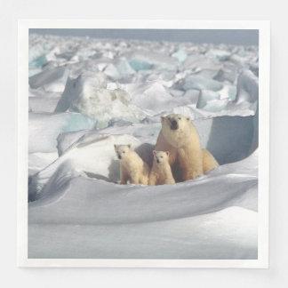 Polar Bears Mother Cubs Arctic Wildlife Napkins Disposable Napkin