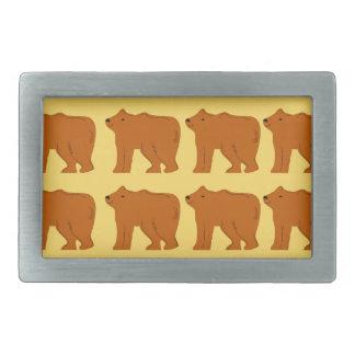 Polar bears on Gold Rectangular Belt Buckle