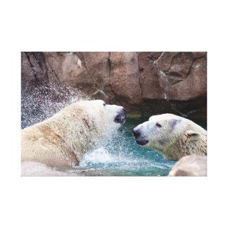 Polar Bears Playing Canvas Print