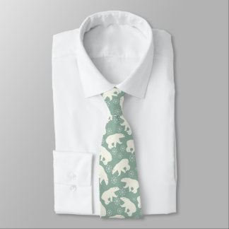 Polar Bears & Snowflakes Winter Pattern Tie