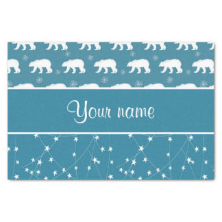 Polar Bears Twinkling Stars Personalized Tissue Paper