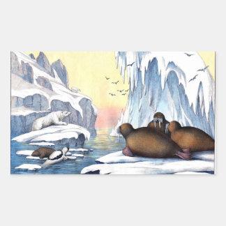Polar Bears, Walrus, And Seals Rectangular Sticker
