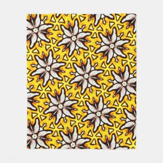 Polar cover Jimette black white yellow Design Fleece Blanket
