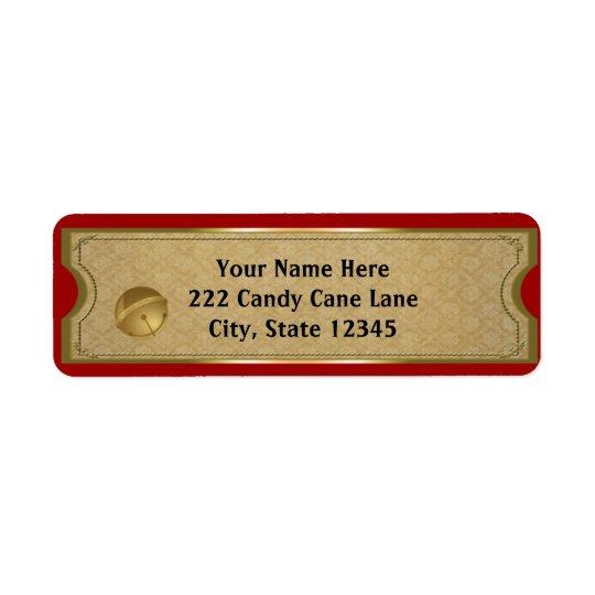 Polar Express Gold Bell Christmas Address Labels