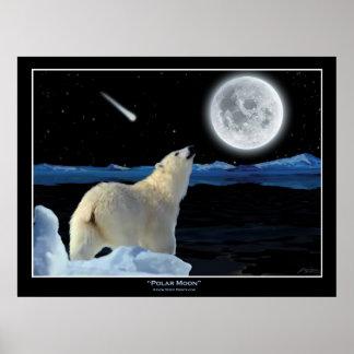 """""""POLAR MOON"""" Polar Bear and Moon Art Print"""
