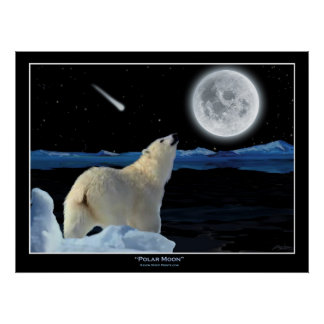 """POLAR MOON"" Polar Bear and Moon Art Print"