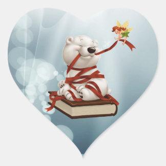 Polar teddy-bear with books and fairy heart sticker