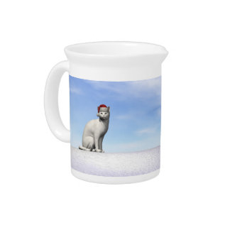 Polar white bear for christmas - 3D render Pitcher