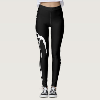 Pole Dance Black & White Leggings with Silhouette