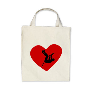 Pole Vaulter Heart Tote Bags