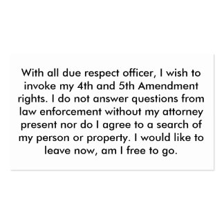 Police 5th Amendment Cards Business Card