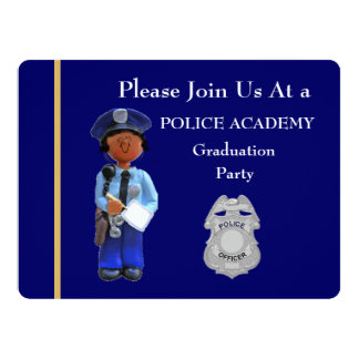 Police Academy Black Female Graduation Invitation