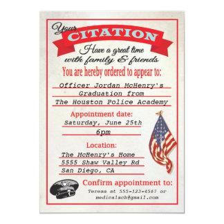 "Police Academy Graduation Citation Invitation 5"" X 7"" Invitation Card"