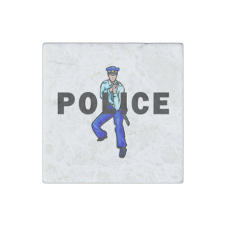 Police Action Logo Stone Magnet