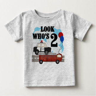 Police and Fire 2nd Birthday Baby T-Shirt