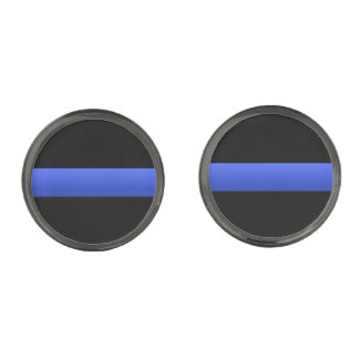 Police and LEO Thin Blue Line Gunmetal Finish Cuff Links
