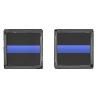 Police and LEO Thin Blue Line Gunmetal Finish Cufflinks