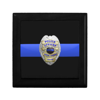 Police Badge and Brass Keeper Box Small Square Gift Box