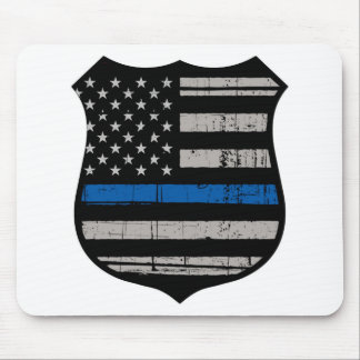 Police Badge Blue Line Mouse Pad