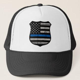 Police Badge Blue Line Trucker Hat