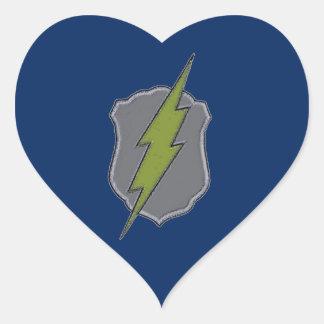 Police Badge w/ Lightning Bolt custom design Heart Sticker